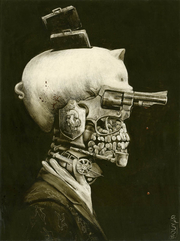 "CHILLING WORKS BY SANTIAGO CARUSO on Juxtapoz  JUXTAPOZ: Santiago Caruso is an Argentinean artist born in Buenos Aires. Covering subjects of fear, passion, desolation and violence, it's surprising that Caruso is twenty-nine years old. Having a classic painting technique and creating illustrations that look like they've come out of an 1800's science illustration book, Caruso has style and skills beyond his years, Read more… image: ""Portrait of Crime"" / ink and scratching over paper /  2010"