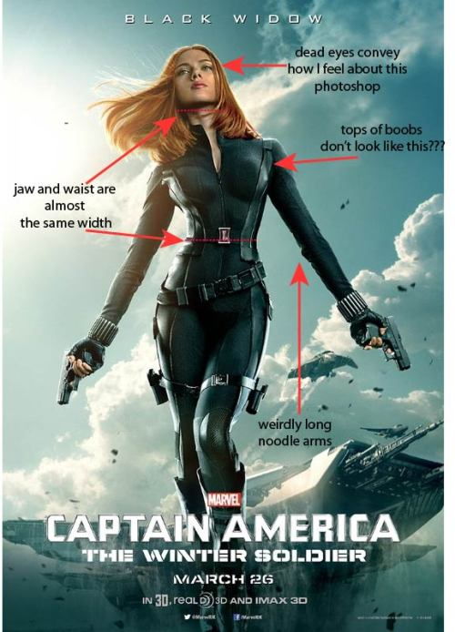fluffmugger:  themagnafarta:  I have some beef with the Black Widow poster.  oh look the crazy marvel photoshopper is at it again   Also can someone please secure her belt? That crazy tilted angle it's at means it's gonna go flying around and get snagged on shit as soon as she starts kicking ass.