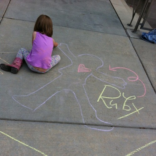 "Outside of the ""PLAY"" exhibit. There was chalk & hula hoops (& a tiny buttcrack). #tinybuttcrack"