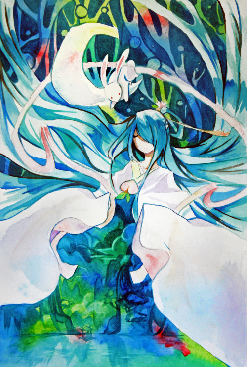 cloverdance:  I was inspired to pick up watercolors by Maruti-bitamin's fantastic watercolor works. I tried to emulate the lovely glazing and layering techniques that she uses.  Story of Chang'e (alternate)