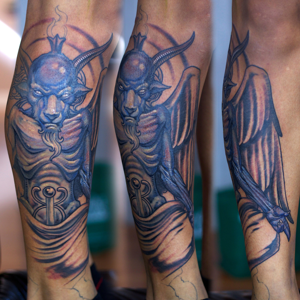 Herman's Baphomet leg piece in progress…. Artist: Paco Dietz    Studio: Graven Image Tattoo, Santa Clara CA