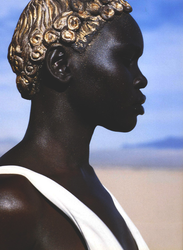 john galliano s/s 1994, alek wek in idoles by herb ritts for vogue paris april 1999