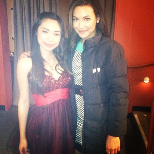 fyeahgleeclub:  jessicaesanchez On the set of glee with the lovely Naya Rivera 😍