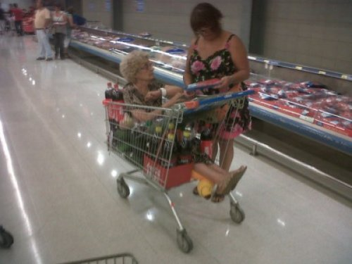 Woman Has Old Lady in Her Shopping Cart Price check on this organic grandma meat, please.