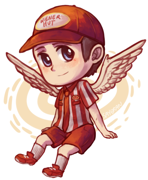 say0ran-arts:  Commission of a certain wiener hut angel for Rebecca <3