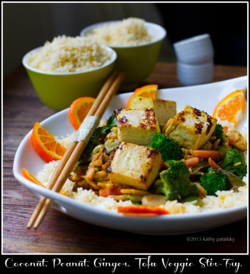 Ginger-Peanut-Coconut Tofu & Veggie Stir-Fry over Rice