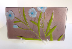Fused Glass Floral Art Plate by bprdesigns