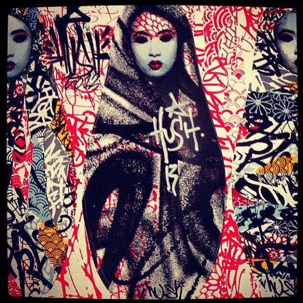 UK artist @hush_ had his show opening tonight at Corey Helford Gallery in Los Angeles, and this is one of 50 prints that were given away at the opening!  Did you get one?  Be sure to check out this amazing show!    #hush #coreyhelfordgallery #losangeles #geisha #graffiti #girls #streetart