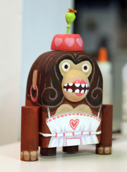 This is Dorothy, my wooden toy for a class project mentored by artists Amanda Visell and Michelle Valigura. We were given a balsa block, a wooden dowel, and a small wooden cabinet knob to use as ingredients in a wooden toy. The only constraints were that we use all three pieces in some way and that we not back away from using powertools.  I had assistance with cutting the knob and the dowel, but I carved and sanded the main block. Dorothy was painted with acrylics over the course of a few sittings until a sufficient coat had built up for more paint to adhere to. I had trouble with the first few coats as the wood was holding onto the moisture and drying very slowly.
