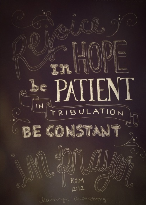 "spiritualinspiration:  ""Be joyful in hope, patient in affliction, faithful in prayer"" (Romans 12:12, NIV)  God has given you everything you need in order to enjoy your life. Think about that for a minute. What is keeping you from living life to the full? You may not be in the home you want. You may not have the exact job you would like. Maybe you're single and really want to be married. If you focus on these temporary things, it opens the door to comparison and frustration.  It's good to have big dreams. It's good to want to increase. But if you start comparing yourself to others, it opens the door for the enemy to steal your joy. If you don't learn to be happy where you are, you'll never get to where you want to be. But if you'll choose to be happy, refuse self-pity and refuse to complain, then you are sowing good seeds for God to take you where you want to be in your future.  Friend, realize today that God is directing your steps. You have a future and a hope. Take joy in knowing that He is working all things together for your good according to His divine plan. Stay in faith, focus on Him and obey His commands. Soon, you'll see those new doors open so you can walk boldly into the place of blessing God has in store for you!  A Prayer for Today  Father, today I choose to put my hope and trust in You. I know that You are working all things together for my good. I refuse self-pity. I refuse to compare. I choose joy and the divine plan You have prepared for me in Jesus' name! Amen."
