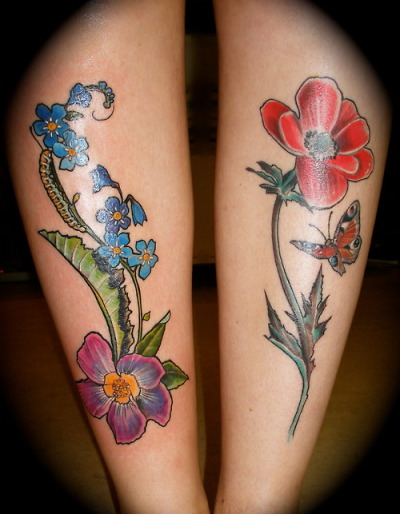 Both my leg tattoos together. I had the left one done yesterday and the right one 2,5 months ago. Both of them are done at Classic Ink and Mods in Amsterdam, by Barbara Swingaling. They have tons of meaning to me. They stand for the positive things from my childhood, growing up but staying true to who I am, my grandma and all the love and life lessons she gave me, my love for nature and insects and so much more.I love both of them and am extremely happy with how they turned out.