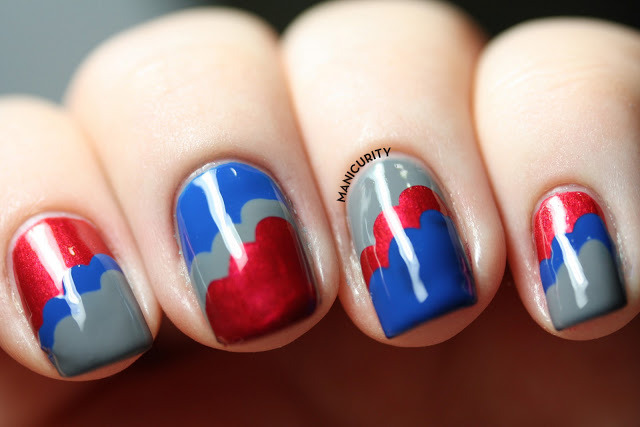 May Tri-Polish Challenge: Red, Blue, and Grey Cloud-icure | Click through for more info + photos - http://bit.ly/164ZoPi