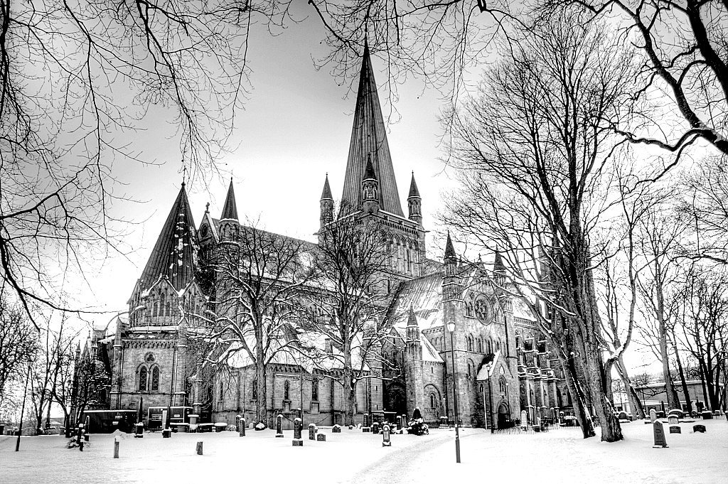 "atrociousdeath:  Nidaros Cathedral in Trondheim, Norway.  Used for the cover of Mayhem's ""De Mysteriis Dom Sathanas"""