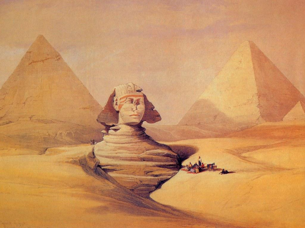 Ancient egypt egyptian places painted by painter david for Ancient egyptian mural paintings