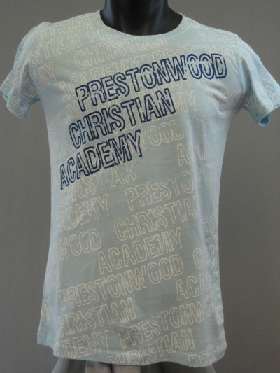 A nice combo print The white text is full bleed belt print with discharge ink. We then came over the top with a standard plastisol print in a navy color.