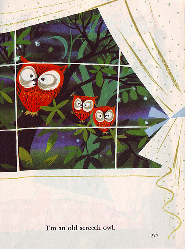 karenh:  Little Golden Books owl illustration by Mary Blair c. 1950 from I Can Fly by Ruth Krauss (via letslookupandsmile)  OWLMAN DOES EXIST!