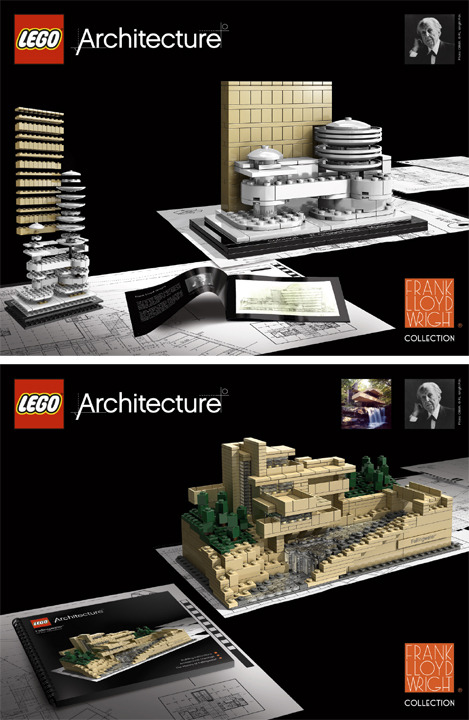 Frank Lloyd Wright LEGO Sets (via PrairieMod discovered via notcot)