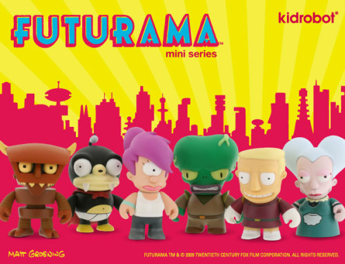 Matt Groening's Futurama blind box mini series from Kidrobot will look nice next to the Simpsons series on my bookshelf(discovered via Vinyl Abuse)