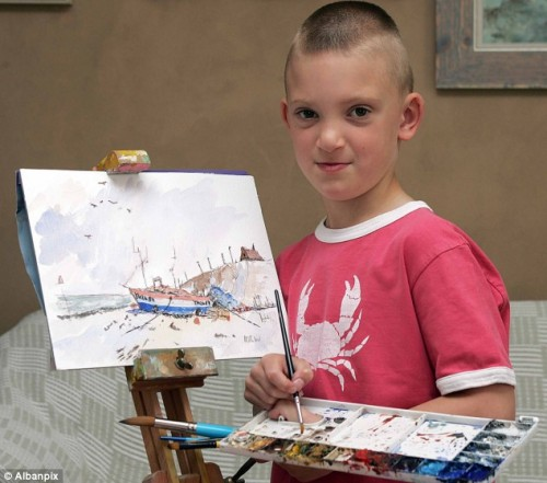 Kieron Williamson Painting at Age Six