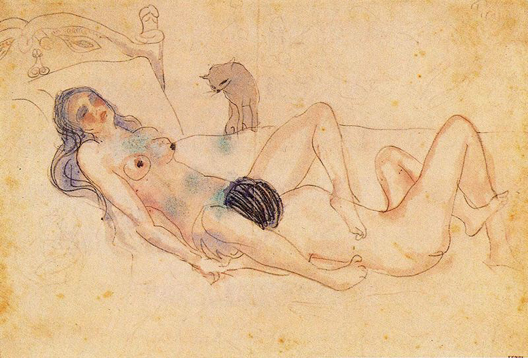 skeletongarden:  Pablo Picasso, Two nudes and a cat, 1903