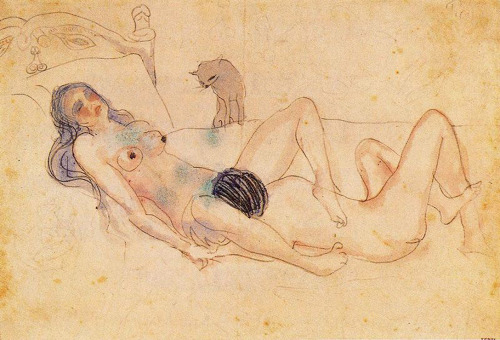 queerassfemme:   Pablo Picasso, Two nudes and a cat, 1903  this is up on my wall ^.^  this is beautiful