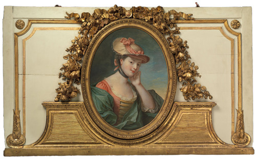 a-l-ancien-regime:  Overdoor with a painting of a woman in a straw hat Frame by Jacques-Charles-Denis Chartier (master in 1760, d. before 1782) French, 1770–80 Painted and gilded wood, oil on canvas The Metropolitan Museum of Art