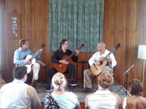 Back Bay Guitar Trio begins their concert at SummerSundays in Hillsboro NH.