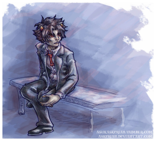 Suit 'n' tie Karkat. Bluh. Something's weird with his legs/hips/the bench but by the time i figured it out i'd already inked it and didn't want to lose the upper body. :( oh well, still cute. :3