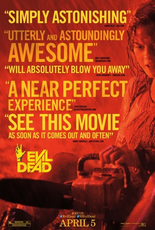 "REVIEW: EVIL DEAD Early posters for Evil Dead boasted that it would be ""the most terrifying film that you will ever experience."" Well, it certainly did satiate my appetite for blood. But in order to truly make an audience feel terror, a filmmaker must make us empathize with characters by letting us get to know them and eventually want to see them survive. The original Evil Dead Trilogy didn't succeed at this, but it wasn't really trying to. That series was tongue-in-cheek fun from beginning to end. Fede Alvarez' new Evil Dead makes one critical mistake that almost knocks it off the rails: it tries too hard. CLICK HERE TO READ THE FULL REVIEW!"