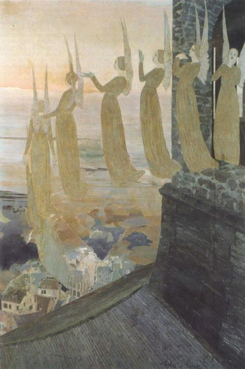denisforkas:  Carlos Schwabe - The Evening Bells. N.d.