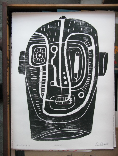 ftff:  Galactic Head 1.0, woodblock print by the great David Plunkert, 2012