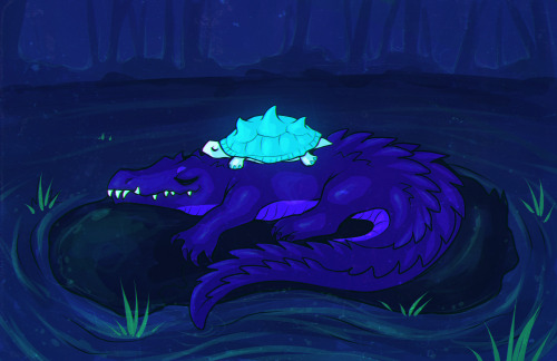 sleepy swamp critters. uwu ((i'm the croc and suhoj is the tortoise))
