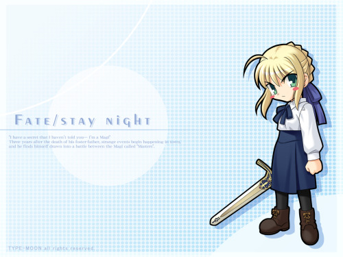 And a chibi-Saber wallpaper.  You can probably expect more Fate/Stay Night fanart as I just finished reading a super massive LP of it.