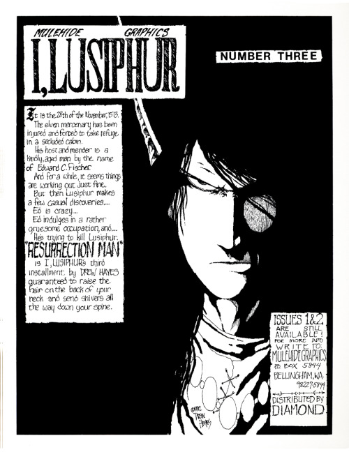 'Next Issue' ad for I, Lusiphur #3 (title changed to Poison Elves with #8) by Drew Hayes, 1992.