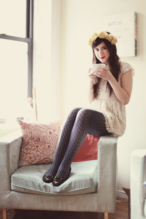 Bonnie of Flashes of Style in sweet dotted tights.