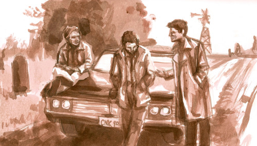 charliewomanofletters:  My contribution to Let's Draw Supernatural. :) Painted with sepia ink and edited on Photoshop.