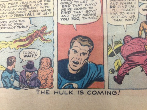 The top and bottoms of the pages throughout Fantastic Four #4 teased the upcoming Hulk #1!