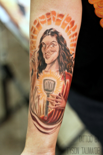 "My ""Weird Al"" Yankovic tattoo done by Tyson Tauma'oe in Las Vegas, NVI've been a HUGE Al fan since I was a little girl. I can't think of anything I'm more passionate about - so even though it's silly, this tattoo means a lot to me :) I gave Tyson all my ideas and he came up with this. Great artist and an all-around awesome dude."