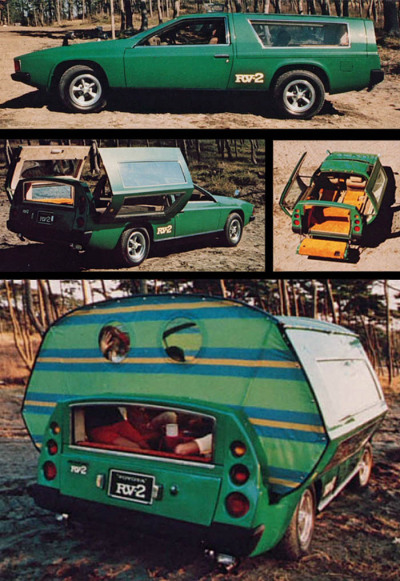 Toyota RV-2, 1972 The Toyota RV-2 prototype was unveiled at the 1972 Tokyo Motor Show. This bizarre 4-person camperwagon concept car was built around a Corona Mark II chassis and drivetrain.  (Retrothing)  Follow Rad Recorder.