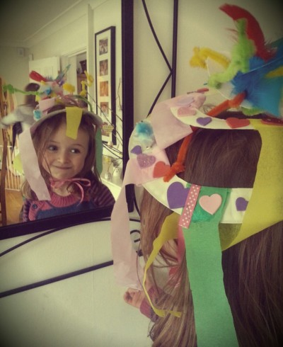 Today I made an Easter bonnet with my friend's daughter out of a paper plate and pipe cleaners!