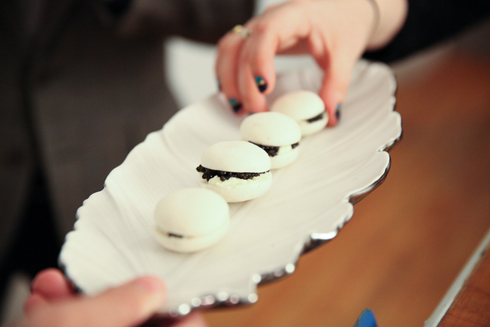 details:  PBR macarons by the chefs at Atera, filled with creme fraiche and caviar. Mind blown.