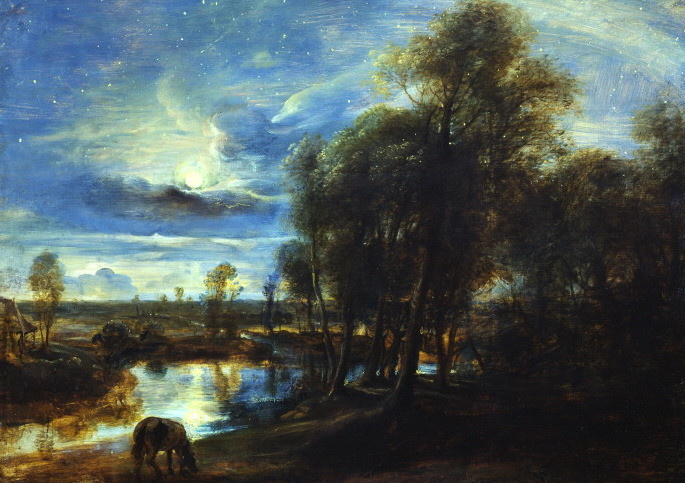 artmastered:  Peter Paul Rubens, Landscape by Moonlight, 1635-40