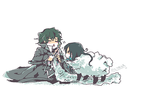 the cute sheep is wavily that Gilbert is knitting a scarf from confused?? please refer to backstory / congratulations on getting that DD wave ❀ヽ(ˉ▿ˉ)ノ❀ /