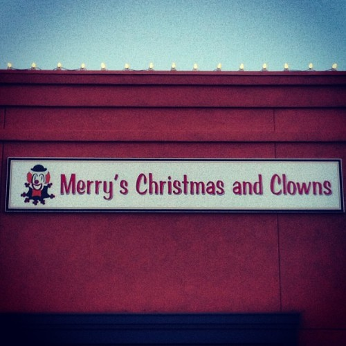 What the hell? This seems like bad business idea. #christmas #clowns #stupid #wtf