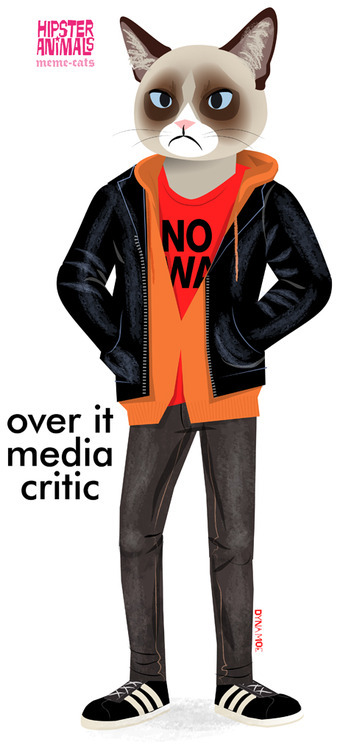 hipster-animals:  over it media critic as a print/on a shirt