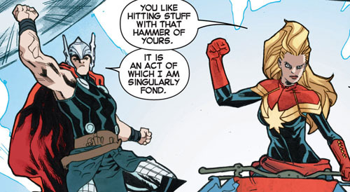 copperbadge:  I enjoy the fact that Carol Danvers is bros with basically every single superhero she works with. [From Avengers: The Enemy Within #1, 2013.]  First off love this panel - love the whole book, funny and a bit sad at the same time. Go read it - I'll wait… You're back now? Good. So anybody else bothered by the fact that in this one panel they forgot to use Thor's special Asgard font? Does that mean he's speaking normally (for Midgardians anyway)… or maybe Thor's trying to extra bro it up with Carol and is copying her accent?