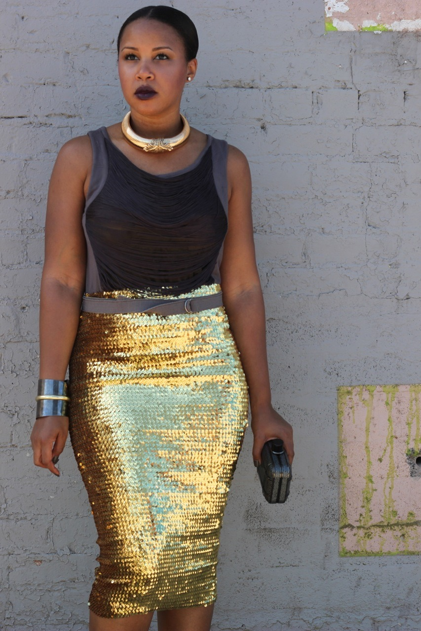 blackfashion:  Top: Young Fabulous & Broke, Skirt: ASOS, Cuff: Mango, Clutch: ASOS, Belt: BCBG, Necklace: Anna Del Russo for H&M Tiffany, AZ www.the-werk-place.com http://instagram.com/thewerkplace