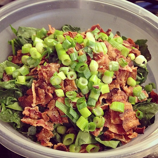 Is this a spinach-kale-bacon salad I see before me? Am I going to top it w/ homemade bacon vinaigrette? Yes & yes.