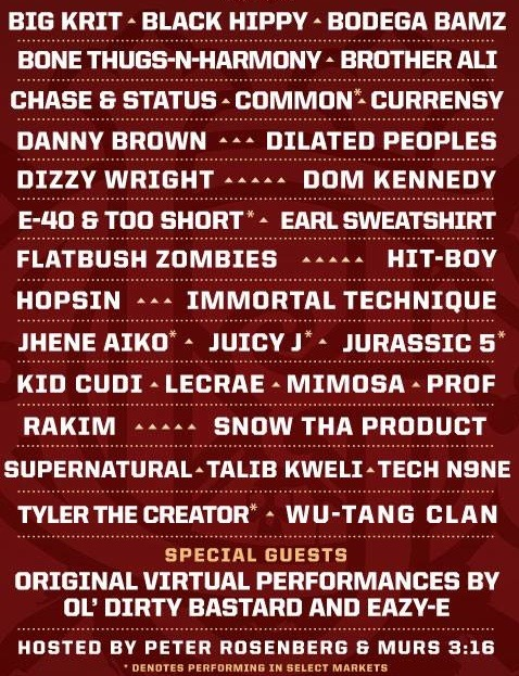 hiphoptoday:  Official lineup for Rock The Bells 2013 (New)
