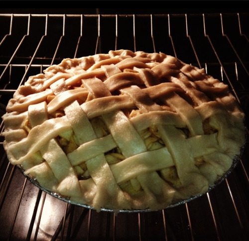 Pie is in the oven! :D